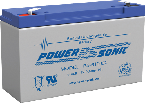 """Power-Sonic PS-6100 F1 Battery - 6 Volt 12 Amp Hour (.187"""" Tabs)"""