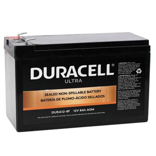 """Duracell DURA12-8F Battery Replacement (.187"""") 12V 8Ah Ultra AGM Sealed Lead"""