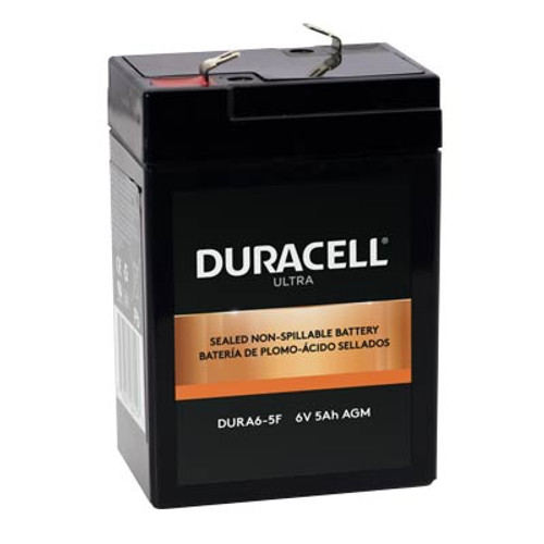 """Duracell DURA6-5F Battery Replacement (.187"""") 6V 5Ah Ultra AGM Sealed Lead"""