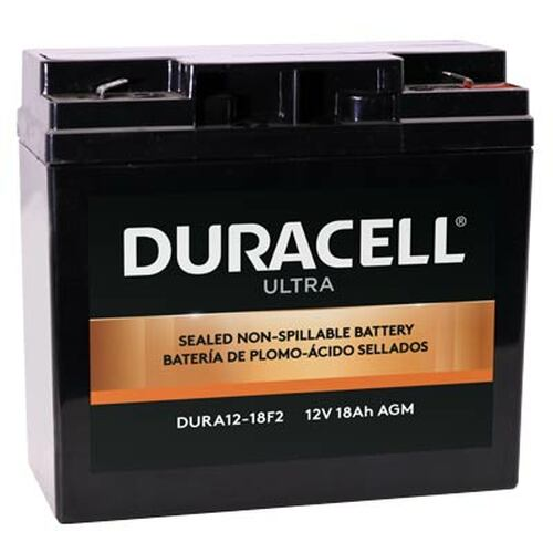 """Duracell DURA12-18F2 Battery Replacement (.250"""") 12V 18Ah Ultra AGM Sealed Lead"""