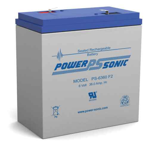 "Power Sonic PS-6360 F2 Battery - 6 Volt 36 Amp Hour AGM (.250"")"