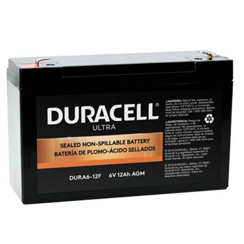 """Duracell DURA6-12F Battery Replacement (.187"""") 6V 12Ah Ultra AGM Sealed Lead"""