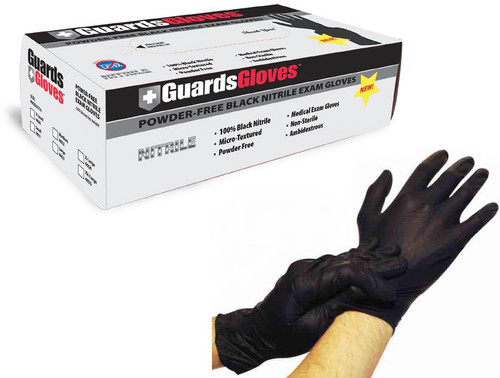Black Nitrile Powder-Free Exam Gloves: 1,000 LARGE