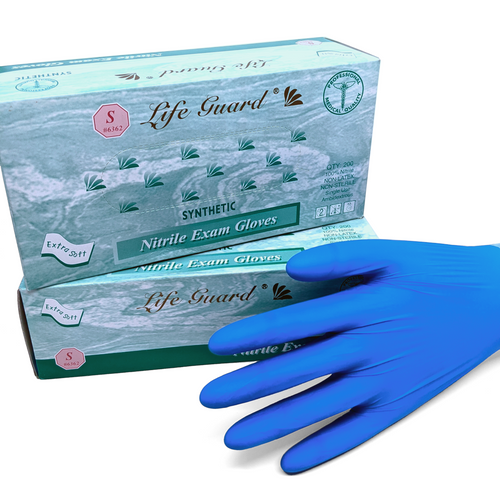 Life Guard Powder-Free Blue Nitrile Exam Gloves 3mil 10x200Each