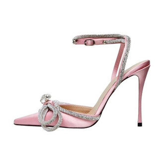 Bow Front Satin High Heels in Baby Pink-1632410504