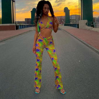 Yellow Printed Slinky Flared Trousers Two Piece Set-1632410792