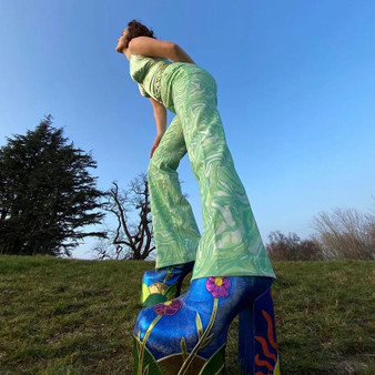 Green Paisley Printed Flared Trousers-1632410858