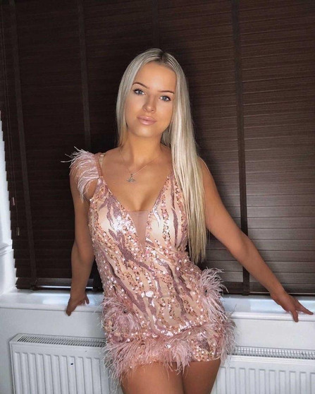 BLANCO Pink Feather Sequin Dress-1632410153