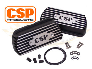 CSP Type I Valve Covers, Aluminium (Pair), Black with polished ribs