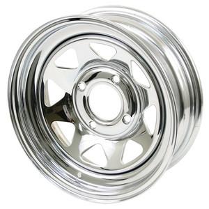 CHROME STEEL WHEEL 4x130 PCD 15in x 10in