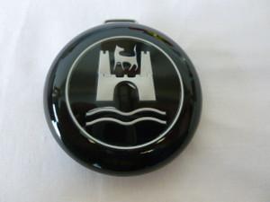 HORN BUTTON CAP SPLIT BUS 56-67 BLACK WITH SILVER WOLFSBURG EMBLEM