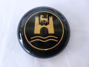 HORN BUTTON CAP SPLIT BUS 56-67 BLACK WITH GOLD WOLFSBURG EMBLEM