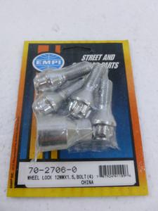 Chrome Wheel Locks, Bolts, 12mm-1.5, 60 degree taper (set of 4)