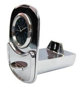 CHROME ASHTRAY WITH CLOCK ACCESSORY OVAL BEETLE 53-57