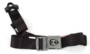 3-POINT NON-RETRACTABLE SEAT BELT, black strapping material with chrome buckle