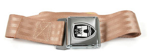 2-POINT LAP SEAT BELT, light brown strapping material and chrome buckle