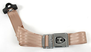 3-POINT NON-RETRACTABLE SEAT BELT, light brown strapping material with chrome buckle