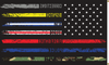 First Responders American Flag, 2' x 3', Printed Nylon with Header & Grommets, Back