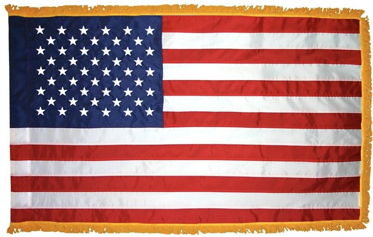 Indoor American Flag, Nylon 3' x 5' with Striped Pole Hem and Gold Fringe, USNYPHF3X5
