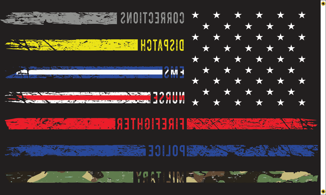 First Responders American Flag, 3' x 5', Printed Nylon with Header & Grommets - Back