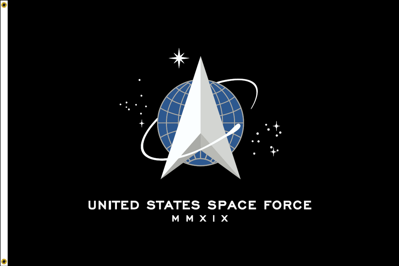 US Space Force Flag, 4' x 6', Nylon with Header & Grommets Front