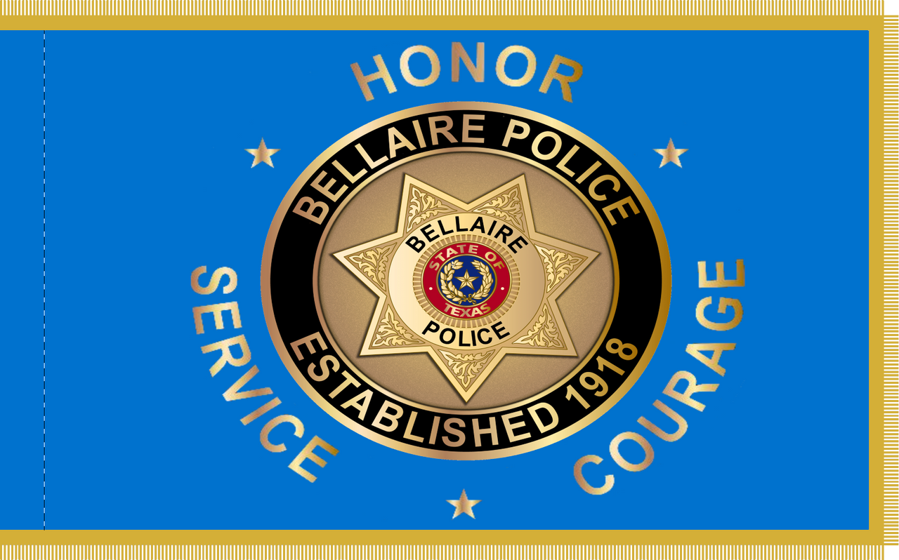 Custom Digital Double Sided 3' X 5' w/Pole Hem and Gold Fringe Bellaire Police Department Flag