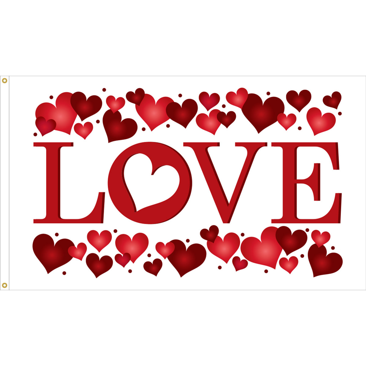 Valentine's Day Flag, 3' x 5' Nylon with Header and Grommets