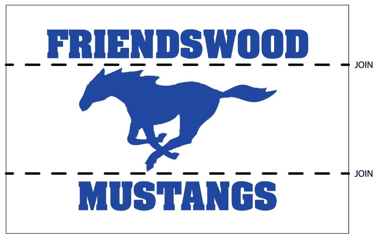 "Custom 12' x 18' Printed Nylon ""Friendswood ISD Mustangs"" (Blue on White)"
