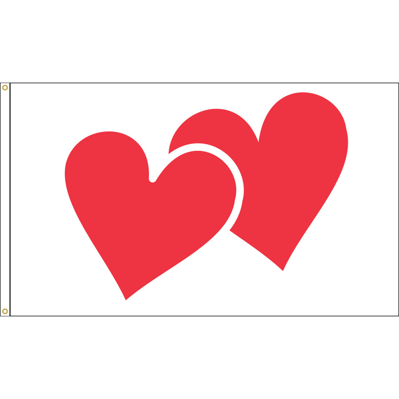 Valentine Hearts Flag, 3' x 5' Nylon with Header and Grommets