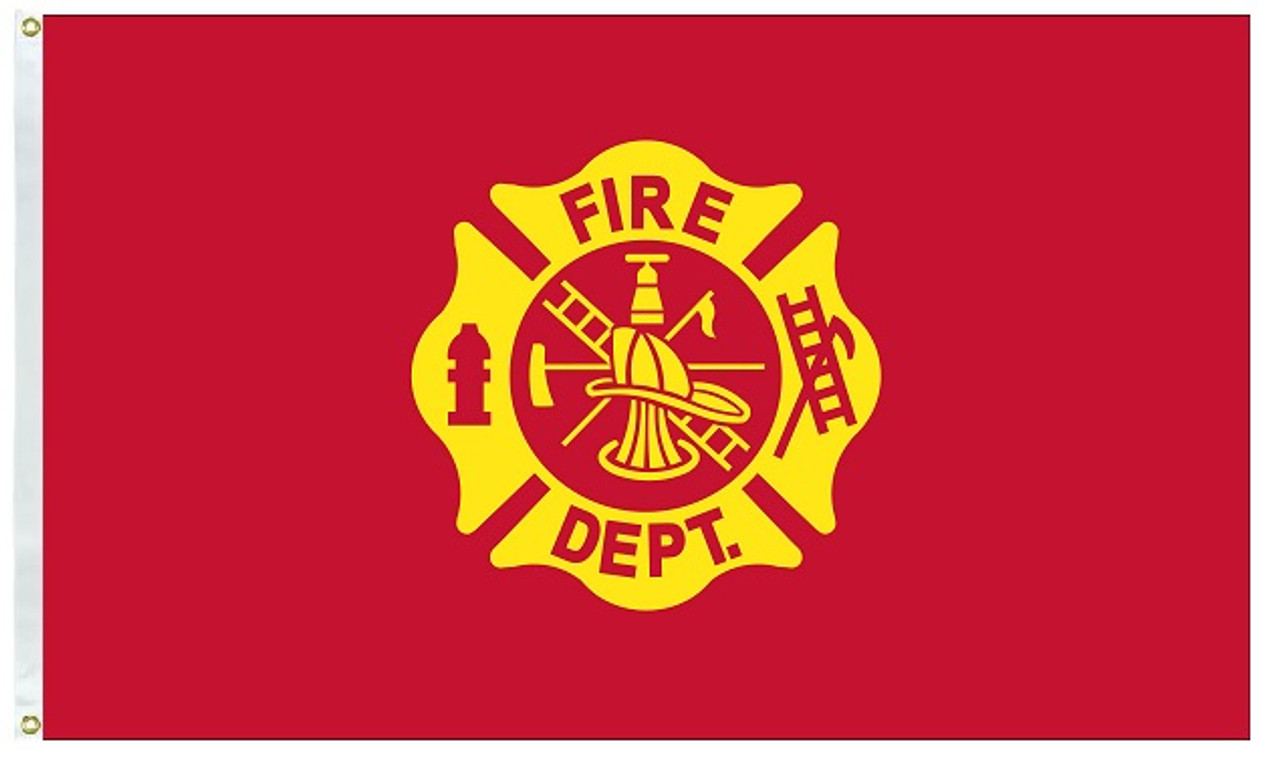 Fire Department Flag 3' X 5', Nylon with Header and Grommets