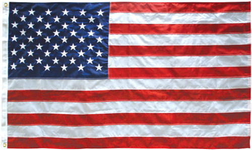 American Flag, 5' x 8' Nylon, with Header and Grommets & Vertical Stitching with Reinforced Corners