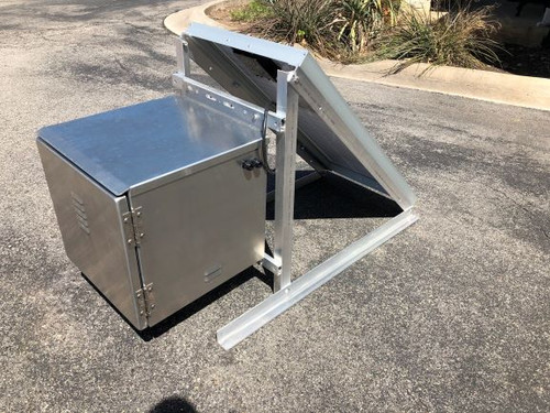 Factory assembled aluminum ground (skid) mount Solar panel, frame, Battery/control box. Tapped with strain relief fittings to connect the StarGazer(s) for easy cable termination at time of installation