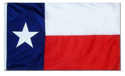 State of Texas Flag, 3' x 5', Nylon with Header & Grommets
