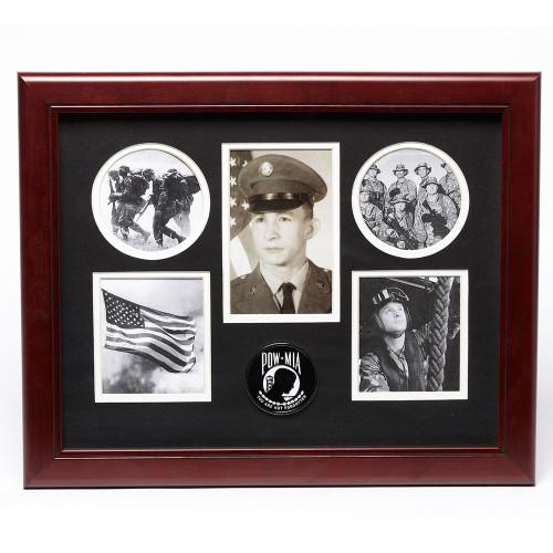 """5 Photo Collage, Service Medallion, 11"""" x 14"""", POW-MIA"""