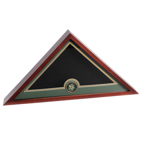 Mahogany Flag Display Case with Army Service Medallion for 5ft x 9.5ft Internment Flag, DisplayCaseMahoganyArmy