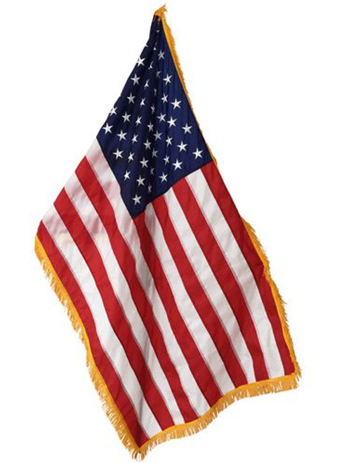 Indoor American Flag, Nylon 3' x 5' with Striped Pole Hem and Gold Fringe, USNY3X5PHF, 1002053