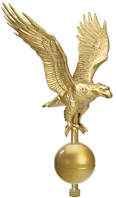 Flag Pole Jumbo Eagle Ornament, Outdoor, 44in wing span, 12in Ball, Gold, EAG0680