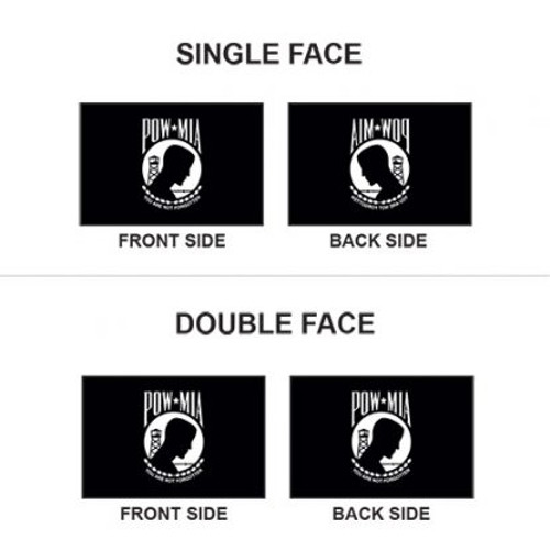 Example of Single Face & Double Face POW-MIA Flag, Single Seal, 3' x 5', Nylon with Header & Grommets