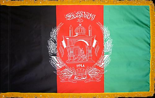 Afghanistan Flag with Pole Hem and Gold Fringe