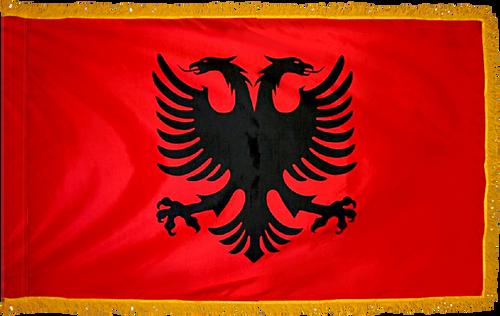 AlbaniaFlag with Pole Hem and Gold Fringe