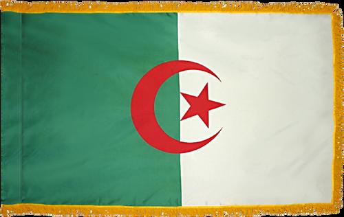 Algeria Flag with Pole Hem and Gold Fringe
