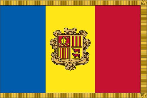 AndorraFlag with Pole Hem and Gold Fringe