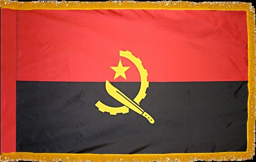 Angola Flag with Pole Hem and Gold Fringe