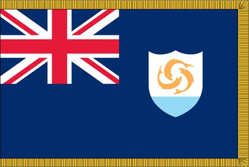Anguilla Flag with Pole Hem and Gold Fringe