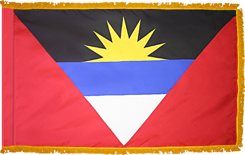Antigua and BarbudaFlag with Pole Hem and Gold Fringe