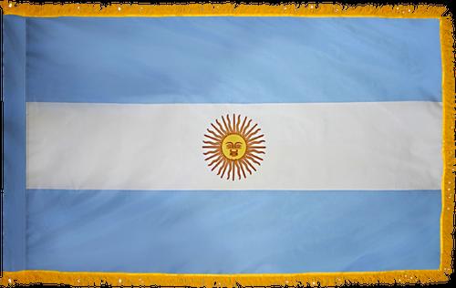 ArgentinaFlag with Pole Hem and Gold Fringe