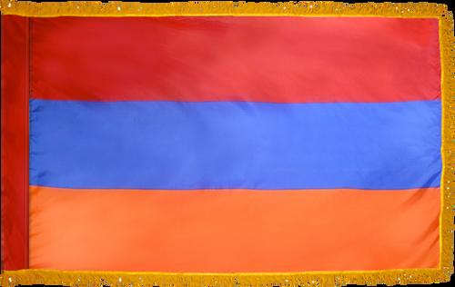 ArmeniaFlag with Pole Hem and Gold Fringe
