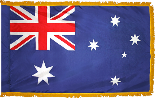 AustraliaFlag with Pole Hem and Gold Fringe