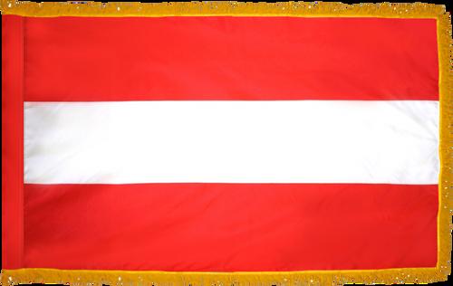 AustriaFlag with Pole Hem and Gold Fringe