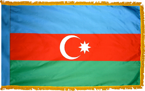 AzerbaijanFlag with Pole Hem and Gold Fringe